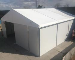 Point-of-purchase company temporary storage building