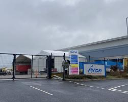 Temporary loading canopy and warehouse for Avon Freight