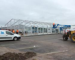 Temporary car showroom building