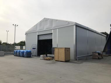 Temporary storage building for food producer